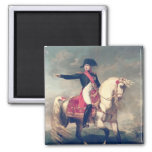 Retrato ecuestre de Napoleon I 1810 Imán Cuadrado