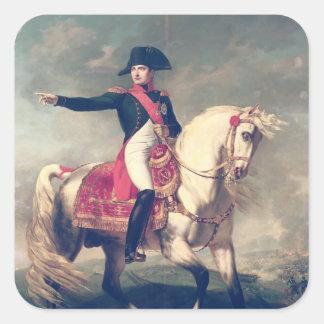 Retrato ecuestre de Napoleon I 1810 Pegatina Cuadrada