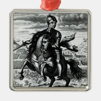 Retrato ecuestre de Oliver Cromwell Adorno Navideño Cuadrado De Metal