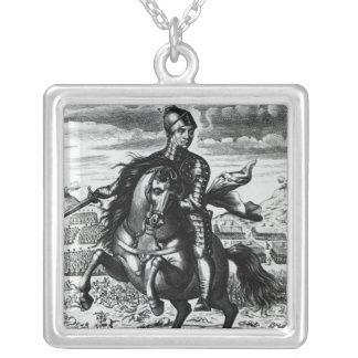 Retrato ecuestre de Oliver Cromwell Colgante Cuadrado