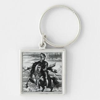 Retrato ecuestre de Oliver Cromwell Llavero Cuadrado Plateado