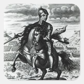 Retrato ecuestre de Oliver Cromwell Pegatina Cuadrada