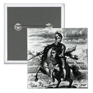 Retrato ecuestre de Oliver Cromwell Pin Cuadrado