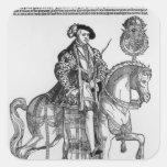 Retrato ecuestre de Philip II de España Calcomanía Cuadradas