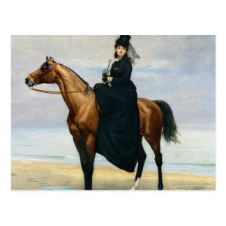 Retrato ecuestre del Mademoiselle Croizette Postal