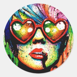 Retrato eléctrico del arte pop de la tierra pegatina redonda
