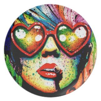 Retrato eléctrico del arte pop de la tierra plato para fiesta