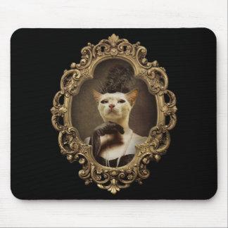 Retrato enmarcado gatito retro real Mousepad Alfombrillas De Ratón