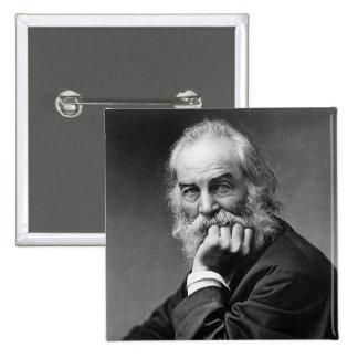 Retrato esencial de Walt Whitman Pin Cuadrado