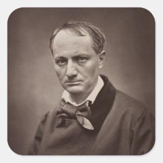 Retrato Étienne Carjat de Charles Pedro Baudelaire Pegatina Cuadrada