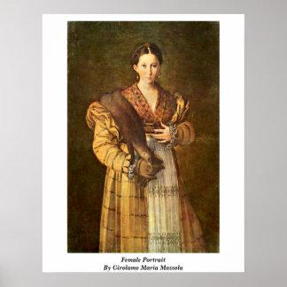 Retrato femenino de Girolamo Maria Mazzola Poster