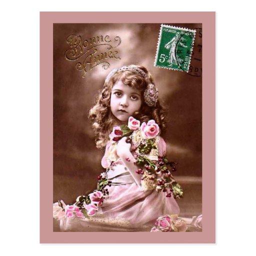 Retrato francés del chica del vintage adorable postal