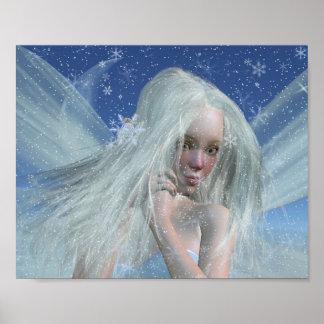 Retrato frío de la hada del invierno poster