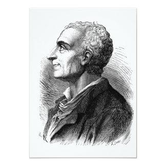 "Retrato grabado al agua fuerte de Montesquieu de Invitación 5"" X 7"""