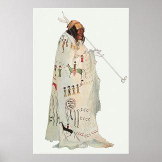 Retrato, guerrero indio con el tubo de Karl Bodmer Posters