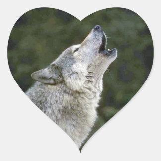 Retrato hermoso de la foto del lobo gris del grito calcomanía de corazón personalizadas