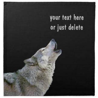 Retrato hermoso de la foto del lobo gris del grito servilleta