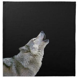 Retrato hermoso de la foto del lobo gris del grito servilletas
