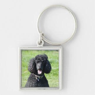 Retrato hermoso de la foto del negro del perro de  llavero cuadrado plateado