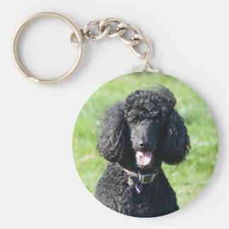 Retrato hermoso de la foto del negro del perro de  llavero redondo tipo pin