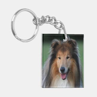 Retrato hermoso de la foto del perro áspero del co llavero cuadrado acrílico a doble cara