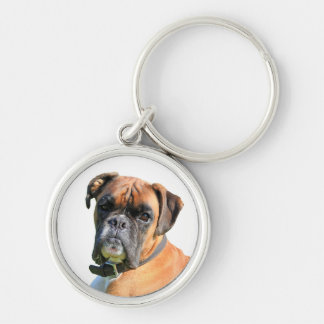 Retrato hermoso de la foto del perro del boxeador llavero redondo plateado