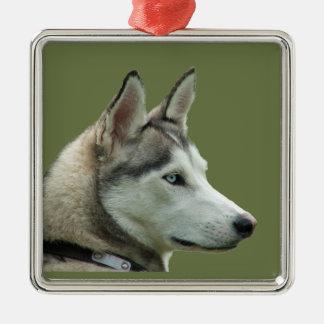Retrato hermoso de la foto del perro fornido, adorno navideño cuadrado de metal