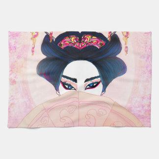 Retrato hermoso TeaTowels del geisha Toallas De Mano