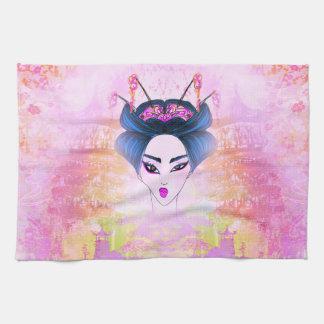Retrato hermoso TeaTowels del geisha Toalla De Cocina