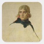 Retrato inacabado de general Bonaparte Calcomania Cuadradas Personalizadas
