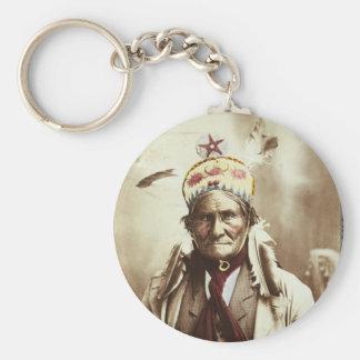 Retrato indio de Geronimo del líder de Chiricahua Llavero Redondo Tipo Pin
