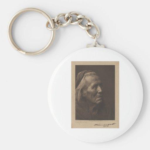 Retrato indio del vintage del nativo americano llavero redondo tipo pin