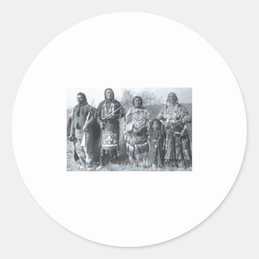 Retrato indio del vintage del nativo americano etiquetas