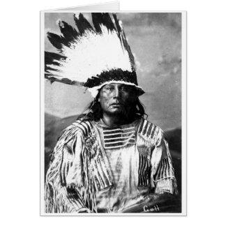 Retrato indio del vintage del nativo americano tarjeton