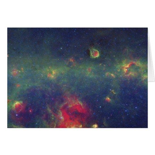 Retrato infrarrojo de la galaxia interna de la vía felicitación