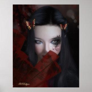 Retrato inspirado del este del chica con el poster