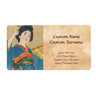 Retrato japonés del geisha del vintage de Shinsui  Etiquetas De Envío