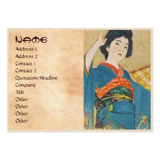 Retrato japonés del geisha del vintage de Shinsui  Tarjetas De Visita Grandes