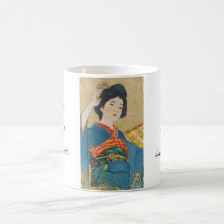 Retrato japonés del geisha del vintage de Shinsui Taza Clásica