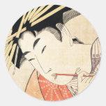 Retrato japonés fresco del geisha del ukiyo-e del  pegatinas redondas