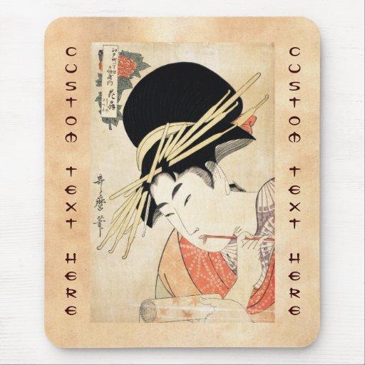 Retrato japonés fresco del geisha del ukiyo-e del  mouse pads