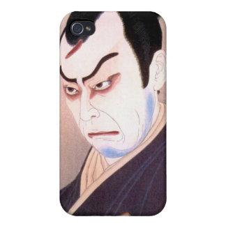 Retrato japonés fresco del hanga del samurai del a iPhone 4 cobertura