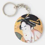 Retrato japonés oriental fresco del geisha llaveros personalizados
