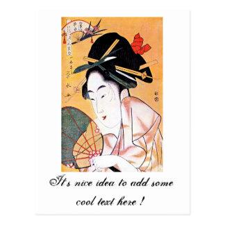 Retrato japonés oriental fresco del geisha tarjetas postales