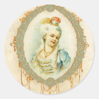 Retrato joven de Marie Antonieta Etiquetas Redondas
