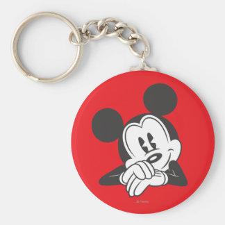 Retrato lindo clásico de Mickey el | Llavero Redondo Tipo Pin