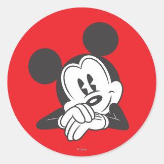 Retrato lindo clásico de Mickey el | Pegatina Redonda