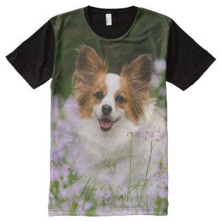 Retrato lindo romántico del perro de Papillon, el Playeras Con Estampado Integral