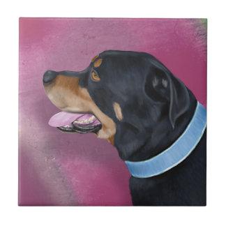 Retrato magnífico de Rottweiler en una pared Azulejo Cuadrado Pequeño