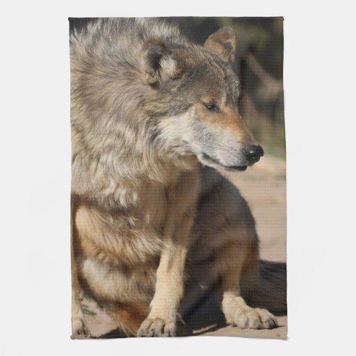 Retrato mexicano del lobo toallas de cocina